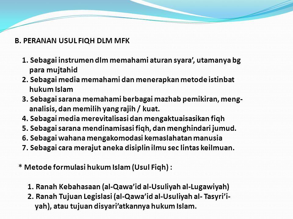 B.PERANAN USUL FIQH DLM MFK 1.