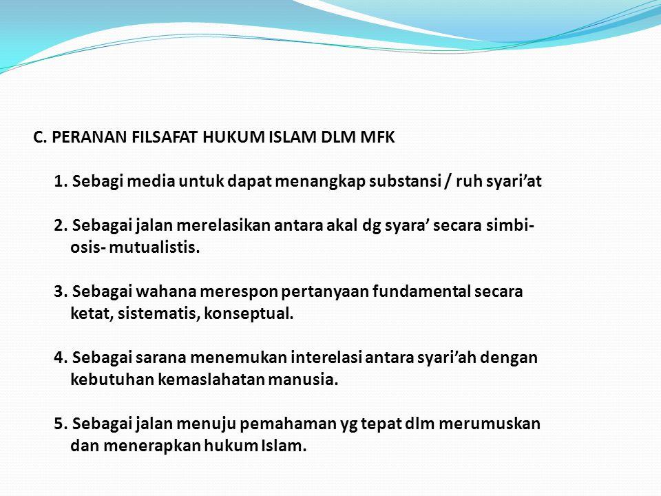 C.PERANAN FILSAFAT HUKUM ISLAM DLM MFK 1.