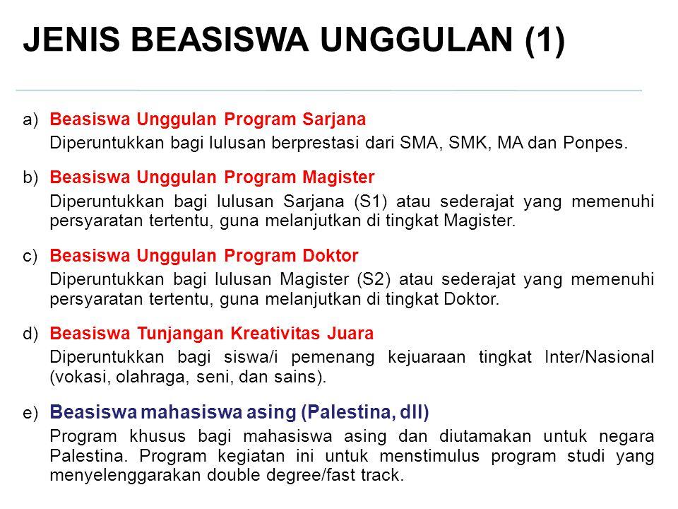 JENIS BEASISWA UNGGULAN (1) a)Beasiswa Unggulan Program Sarjana Diperuntukkan bagi lulusan berprestasi dari SMA, SMK, MA dan Ponpes. b)Beasiswa Unggul