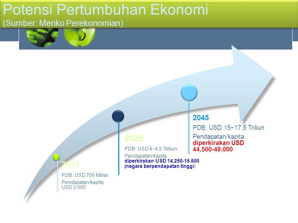 2011 PDB: USD 700 Miliar Pendapatan/kapita USD 3.000 2025 PDB: USD 4~4,5 Triliun Pendapatan/kapita diperkirakan USD 14.250-15.500 (negara berpendapata