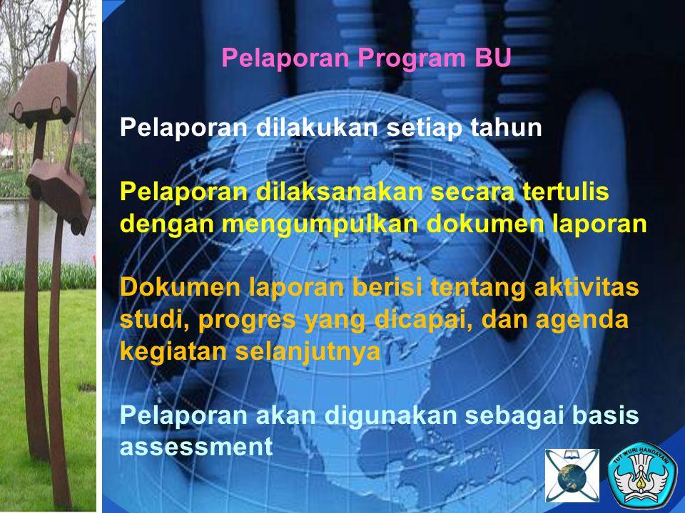 Pelaporan Program BU Pelaporan dilakukan setiap tahun Pelaporan dilaksanakan secara tertulis dengan mengumpulkan dokumen laporan Dokumen laporan beris
