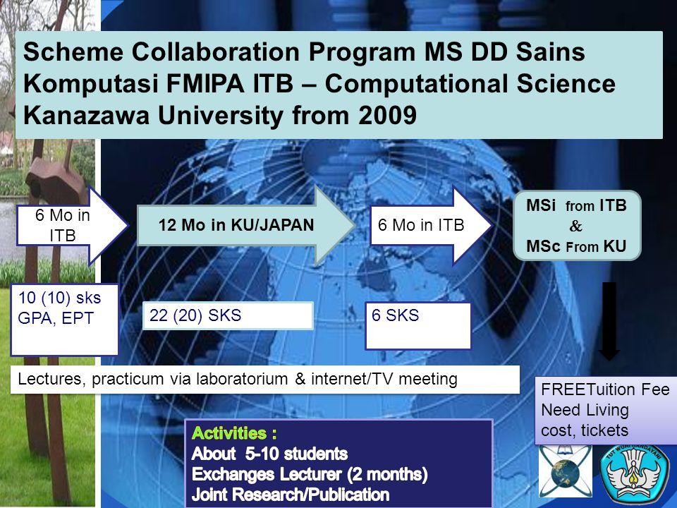 Scheme Collaboration Program MS DD Sains Komputasi FMIPA ITB – Computational Science Kanazawa University from 2009 6 Mo in ITB 12 Mo in KU/JAPAN6 Mo i