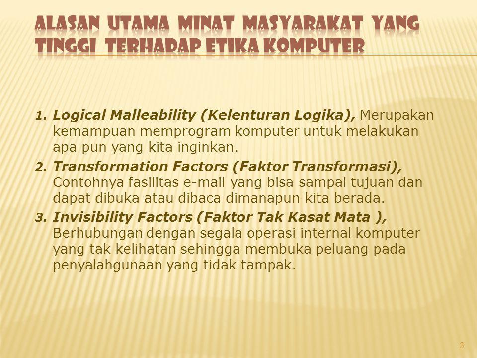 1. Logical Malleability (Kelenturan Logika), Merupakan kemampuan memprogram komputer untuk melakukan apa pun yang kita inginkan. 2. Transformation Fac