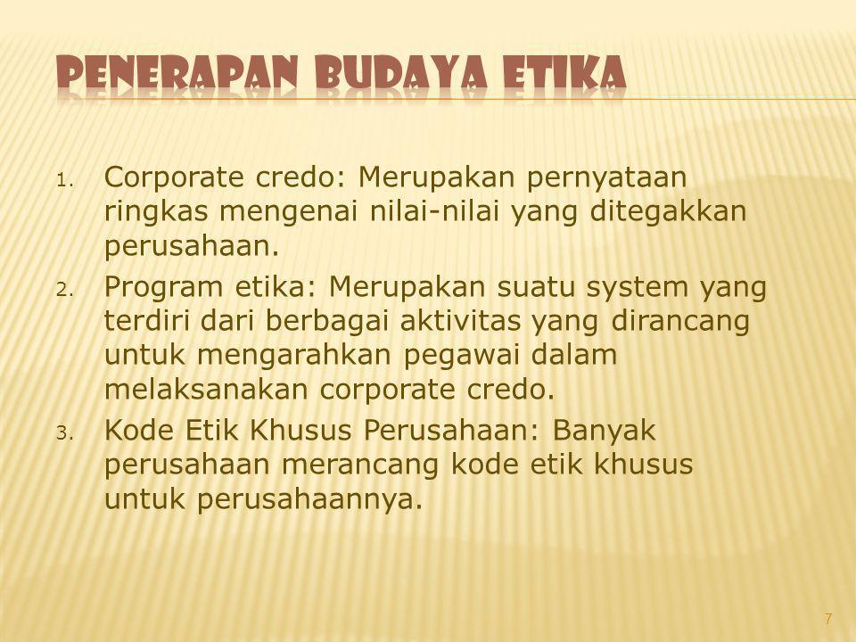 1. Corporate credo: Merupakan pernyataan ringkas mengenai nilai-nilai yang ditegakkan perusahaan. 2. Program etika: Merupakan suatu system yang terdir