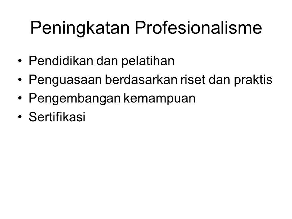 Peningkatan Profesionalisme Pendidikan dan pelatihan Penguasaan berdasarkan riset dan praktis Pengembangan kemampuan Sertifikasi