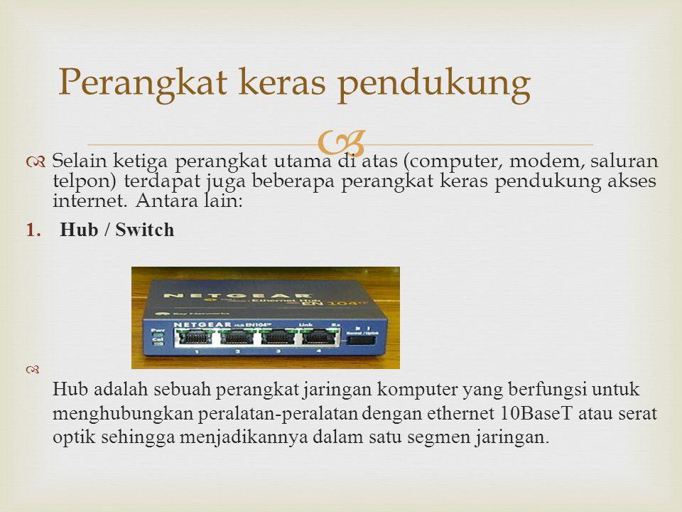   Selain ketiga perangkat utama di atas (computer, modem, saluran telpon) terdapat juga beberapa perangkat keras pendukung akses internet. Antara la
