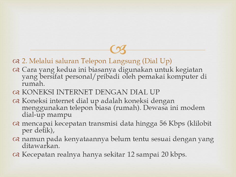   2. Melalui saluran Telepon Langsung (Dial Up)  Cara yang kedua ini biasanya digunakan untuk kegiatan yang bersifat personal/pribadi oleh pemakai