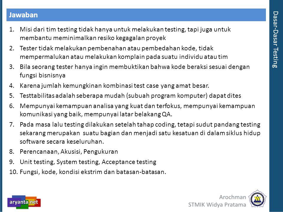 Jawaban 1.Misi dari tim testing tidak hanya untuk melakukan testing, tapi juga untuk membantu meminimalkan resiko kegagalan proyek 2.Tester tidak mela