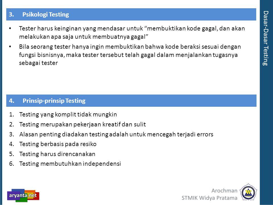 3.Psikologi Testing Tester harus keinginan yang mendasar untuk membuktikan kode gagal, dan akan melakukan apa saja untuk membuatnya gagal Bila seorang tester hanya ingin membuktikan bahwa kode beraksi sesuai dengan fungsi bisnisnya, maka tester tersebut telah gagal dalam menjalankan tugasnya sebagai tester Dasar-Dasar Testing 1.Testing yang komplit tidak mungkin 2.Testing merupakan pekerjaan kreatif dan sulit 3.Alasan penting diadakan testing adalah untuk mencegah terjadi errors 4.Testing berbasis pada resiko 5.Testing harus direncanakan 6.Testing membutuhkan independensi 4.Prinsip-prinsip Testing