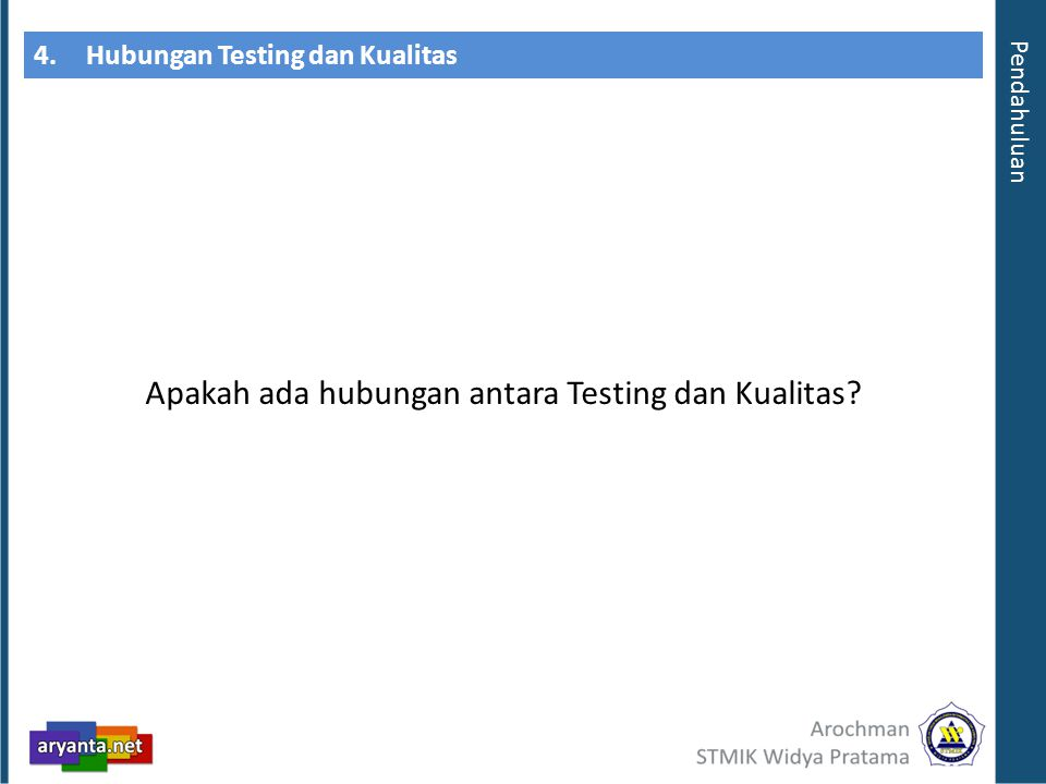 4.Hubungan Testing dan Kualitas Apakah ada hubungan antara Testing dan Kualitas? Pendahuluan