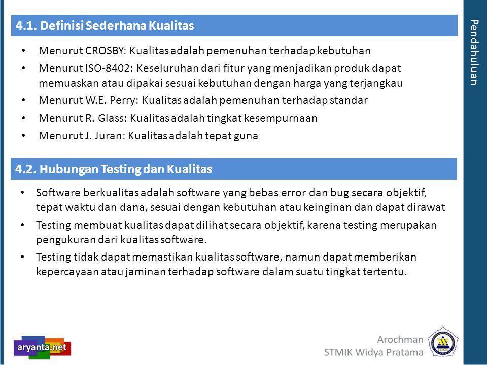 4.1.Definisi Sederhana Kualitas Menurut CROSBY: Kualitas adalah pemenuhan terhadap kebutuhan Menurut ISO-8402: Keseluruhan dari fitur yang menjadikan