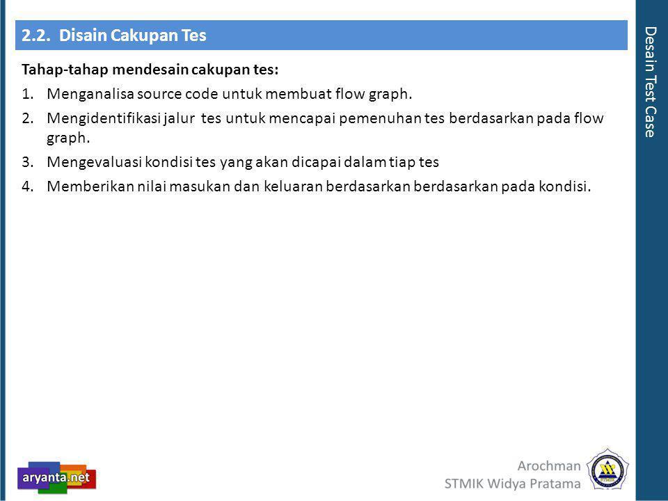 2.2. Disain Cakupan Tes Tahap-tahap mendesain cakupan tes: 1.Menganalisa source code untuk membuat flow graph. 2.Mengidentifikasi jalur tes untuk menc