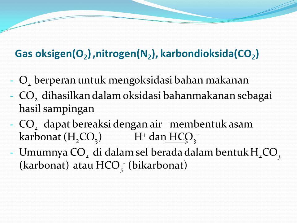 Gas oksigen(O 2 ),nitrogen(N 2 ), karbondioksida(CO 2 ) - O 2 berperan untuk mengoksidasi bahan makanan - CO 2 dihasilkan dalam oksidasi bahanmakanan