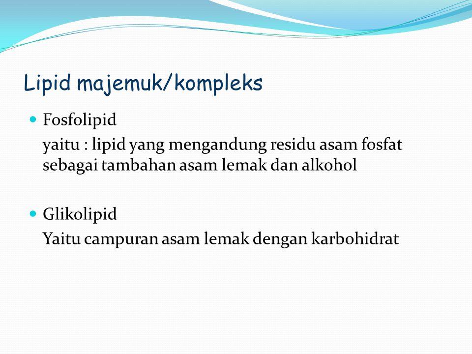 Lipid majemuk/kompleks Fosfolipid yaitu : lipid yang mengandung residu asam fosfat sebagai tambahan asam lemak dan alkohol Glikolipid Yaitu campuran a