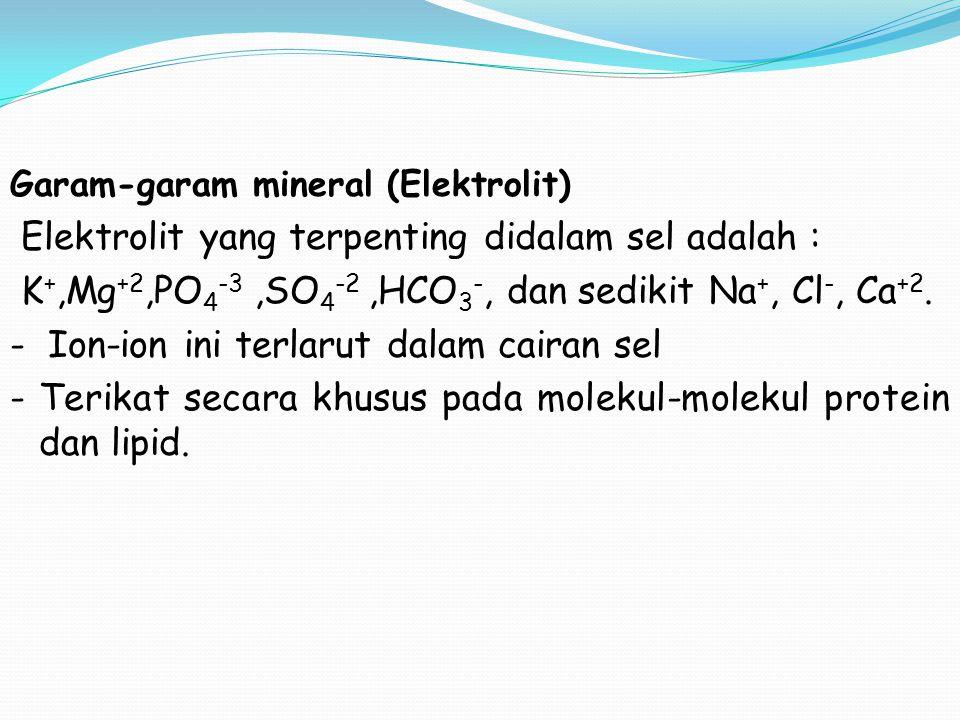 Garam-garam mineral (Elektrolit) Elektrolit yang terpenting didalam sel adalah : K +,Mg +2,PO 4 -3,SO 4 -2,HCO 3 -, dan sedikit Na +, Cl -, Ca +2. - I