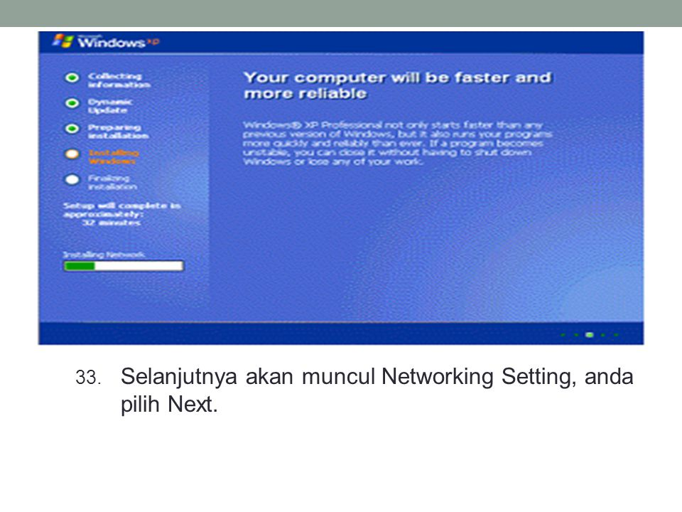 33. Selanjutnya akan muncul Networking Setting, anda pilih Next.