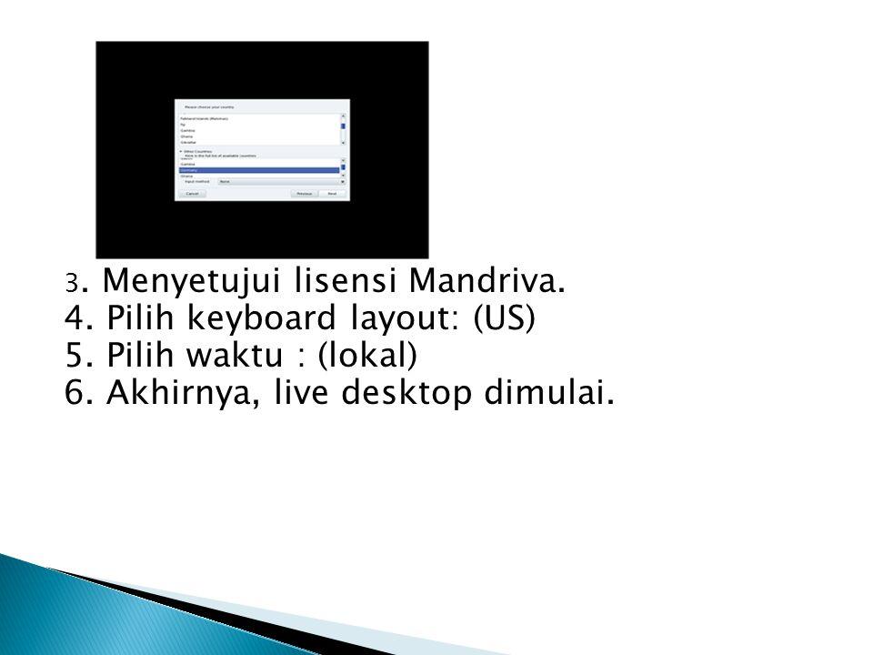 3. Menyetujui lisensi Mandriva. 4. Pilih keyboard layout: (US) 5. Pilih waktu : (lokal) 6. Akhirnya, live desktop dimulai.
