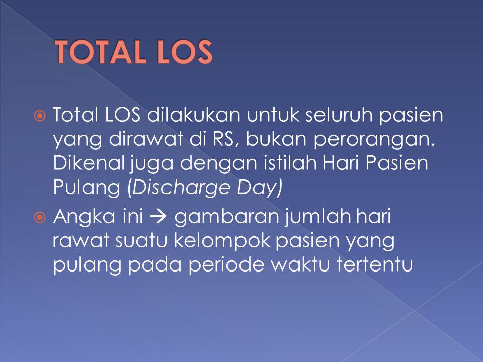  Total LOS dilakukan untuk seluruh pasien yang dirawat di RS, bukan perorangan. Dikenal juga dengan istilah Hari Pasien Pulang (Discharge Day)  Angk