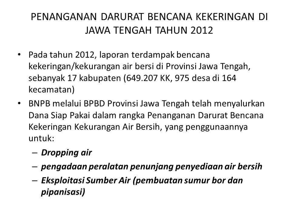 PENANGANAN DARURAT BENCANA KEKERINGAN DI JAWA TENGAH TAHUN 2012 Pada tahun 2012, laporan terdampak bencana kekeringan/kekurangan air bersi di Provinsi Jawa Tengah, sebanyak 17 kabupaten (649.207 KK, 975 desa di 164 kecamatan) BNPB melalui BPBD Provinsi Jawa Tengah telah menyalurkan Dana Siap Pakai dalam rangka Penanganan Darurat Bencana Kekeringan Kekurangan Air Bersih, yang penggunaannya untuk: – Dropping air – pengadaan peralatan penunjang penyediaan air bersih – Eksploitasi Sumber Air (pembuatan sumur bor dan pipanisasi)