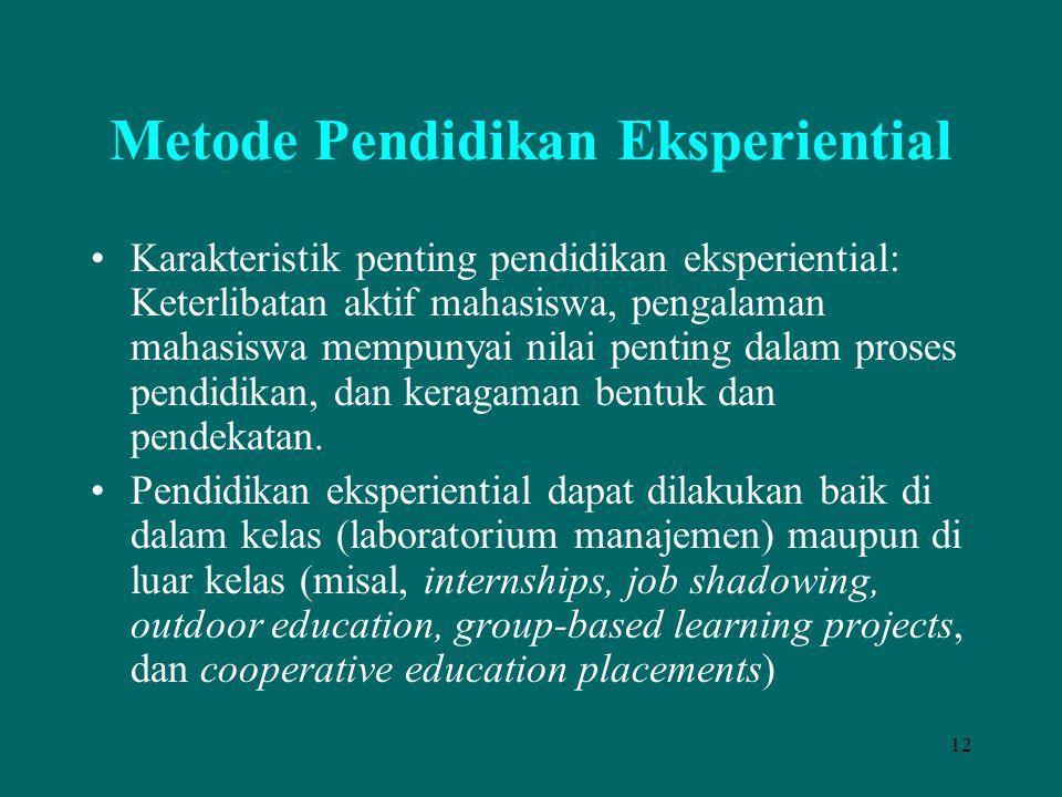12 Metode Pendidikan Eksperiential Karakteristik penting pendidikan eksperiential: Keterlibatan aktif mahasiswa, pengalaman mahasiswa mempunyai nilai