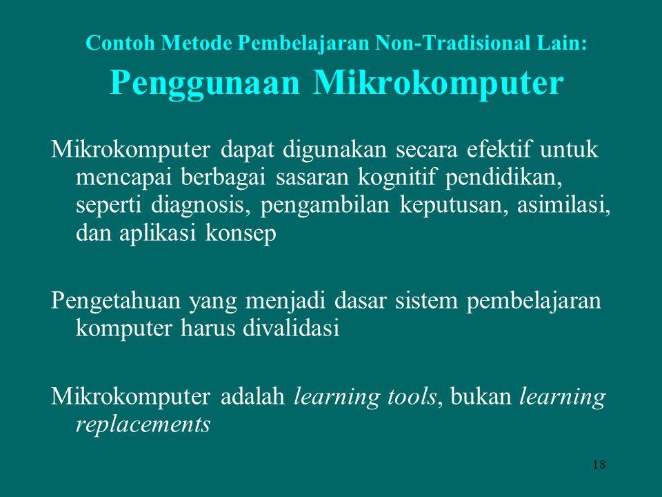 18 Contoh Metode Pembelajaran Non-Tradisional Lain: Penggunaan Mikrokomputer Mikrokomputer dapat digunakan secara efektif untuk mencapai berbagai sasa