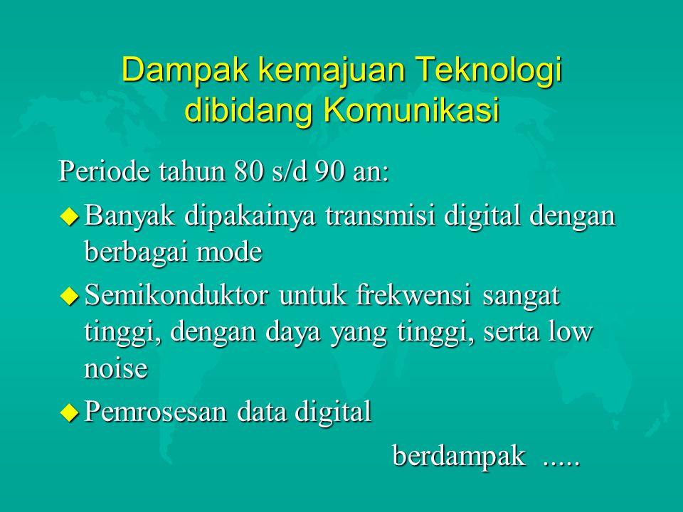 Dampak kemajuan Teknologi dibidang Komunikasi Periode tahun 80 s/d 90 an: u Banyak dipakainya transmisi digital dengan berbagai mode u Semikonduktor u