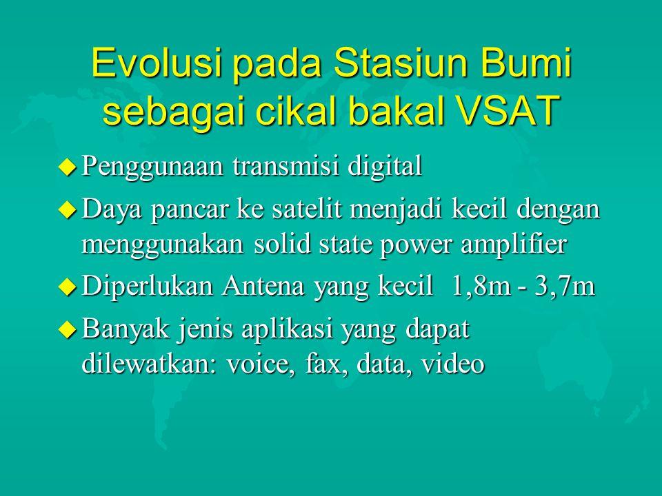 Evolusi pada Stasiun Bumi sebagai cikal bakal VSAT u Penggunaan transmisi digital u Daya pancar ke satelit menjadi kecil dengan menggunakan solid stat