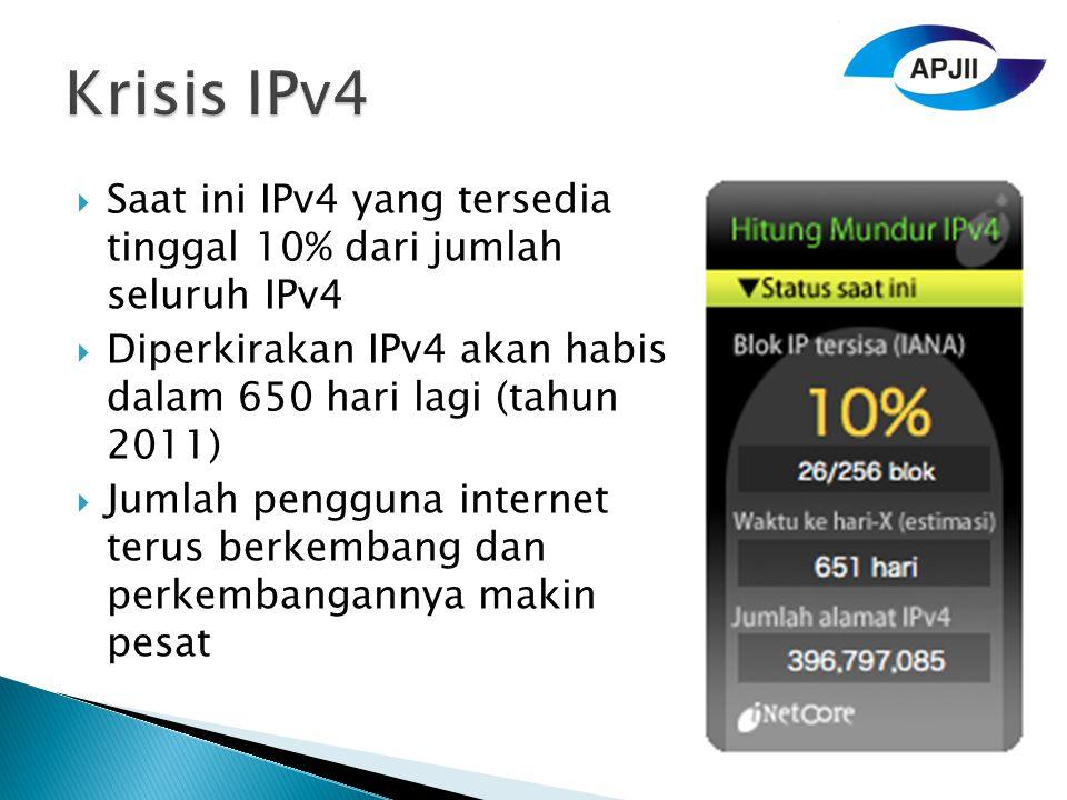  Saat ini IPv4 yang tersedia tinggal 10% dari jumlah seluruh IPv4  Diperkirakan IPv4 akan habis dalam 650 hari lagi (tahun 2011)  Jumlah pengguna internet terus berkembang dan perkembangannya makin pesat