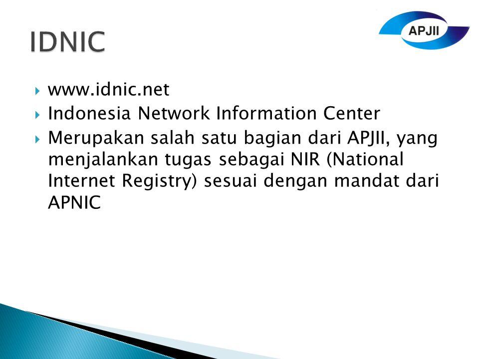  www.idnic.net  Indonesia Network Information Center  Merupakan salah satu bagian dari APJII, yang menjalankan tugas sebagai NIR (National Internet Registry) sesuai dengan mandat dari APNIC