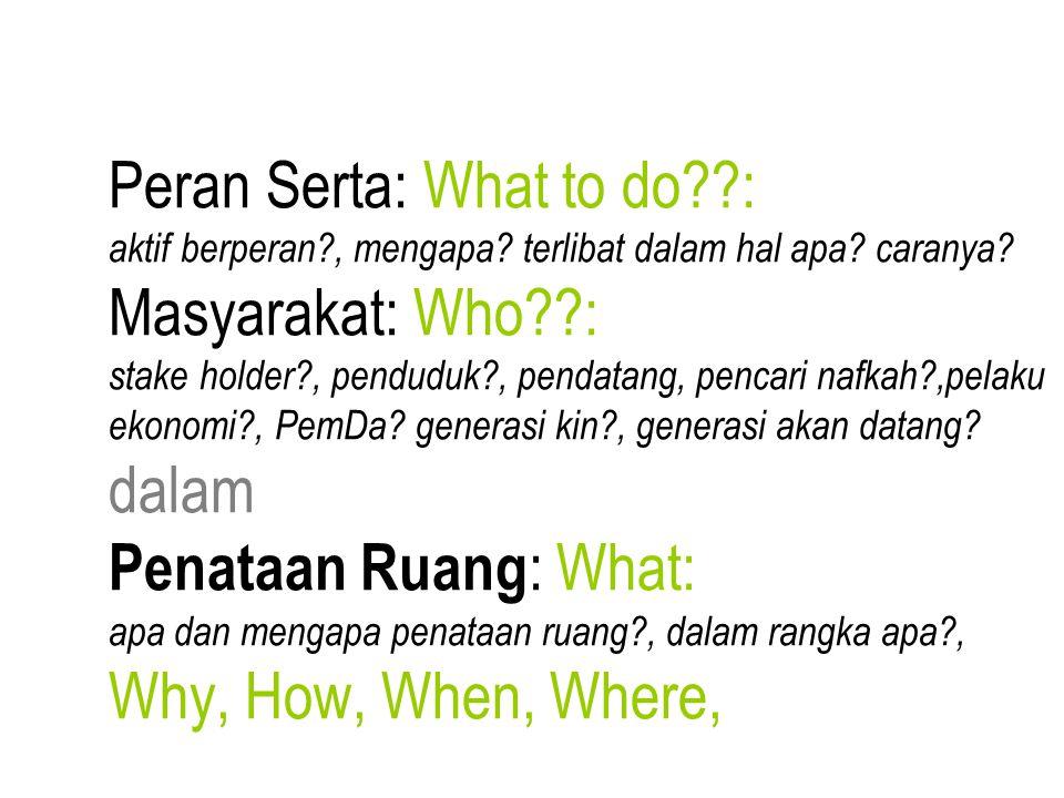 Peran Serta: What to do : aktif berperan , mengapa.
