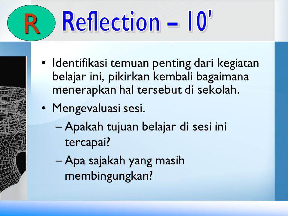 Identifikasi temuan penting dari kegiatan belajar ini, pikirkan kembali bagaimana menerapkan hal tersebut di sekolah.