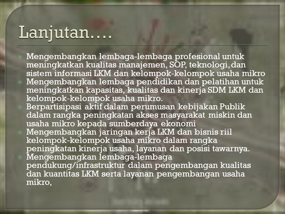  Mengembangkan lembaga-lembaga profesional untuk meningkatkan kualitas manajemen, SOP, teknologi, dan sistem informasi LKM dan kelompok-kelompok usah