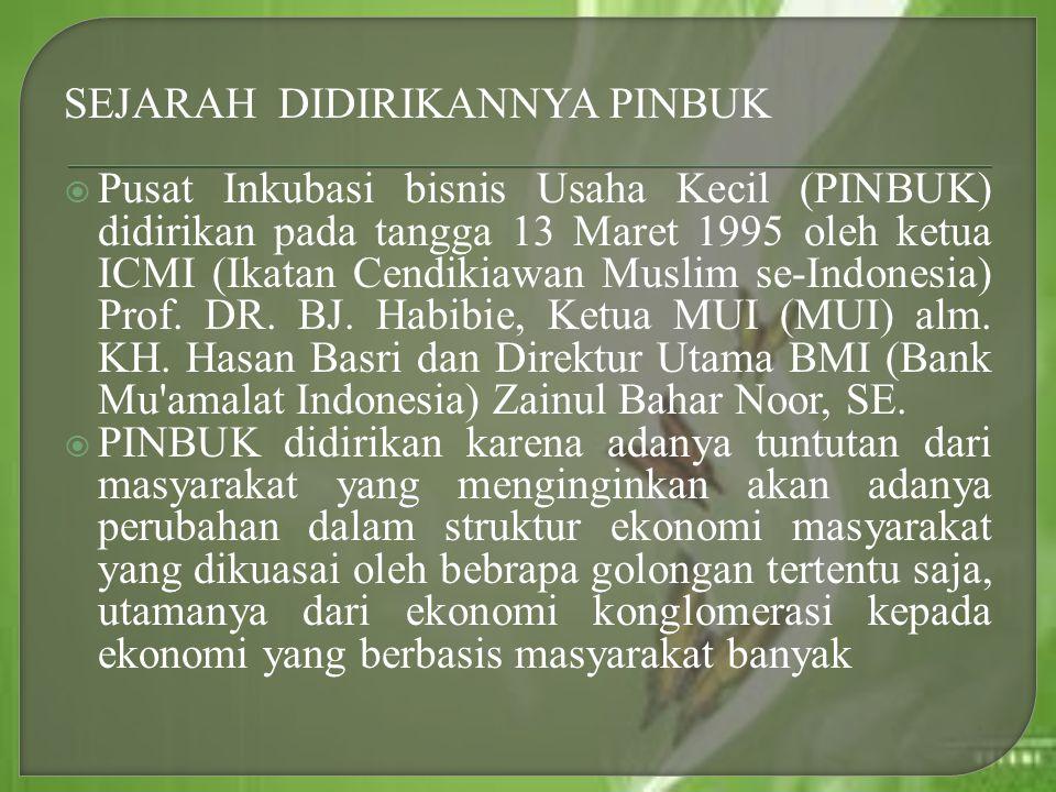 SEJARAH DIDIRIKANNYA PINBUK  Pusat Inkubasi bisnis Usaha Kecil (PINBUK) didirikan pada tangga 13 Maret 1995 oleh ketua ICMI (Ikatan Cendikiawan Musli