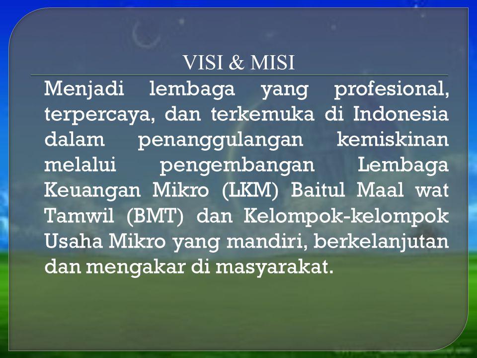 VISI & MISI Menjadi lembaga yang profesional, terpercaya, dan terkemuka di Indonesia dalam penanggulangan kemiskinan melalui pengembangan Lembaga Keua