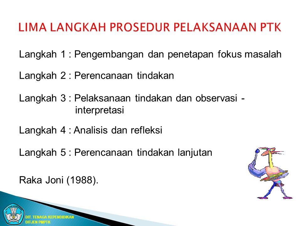 Langkah 1 : Pengembangan dan penetapan fokus masalah Langkah 2 : Perencanaan tindakan Langkah 3 : Pelaksanaan tindakan dan observasi - interpretasi La