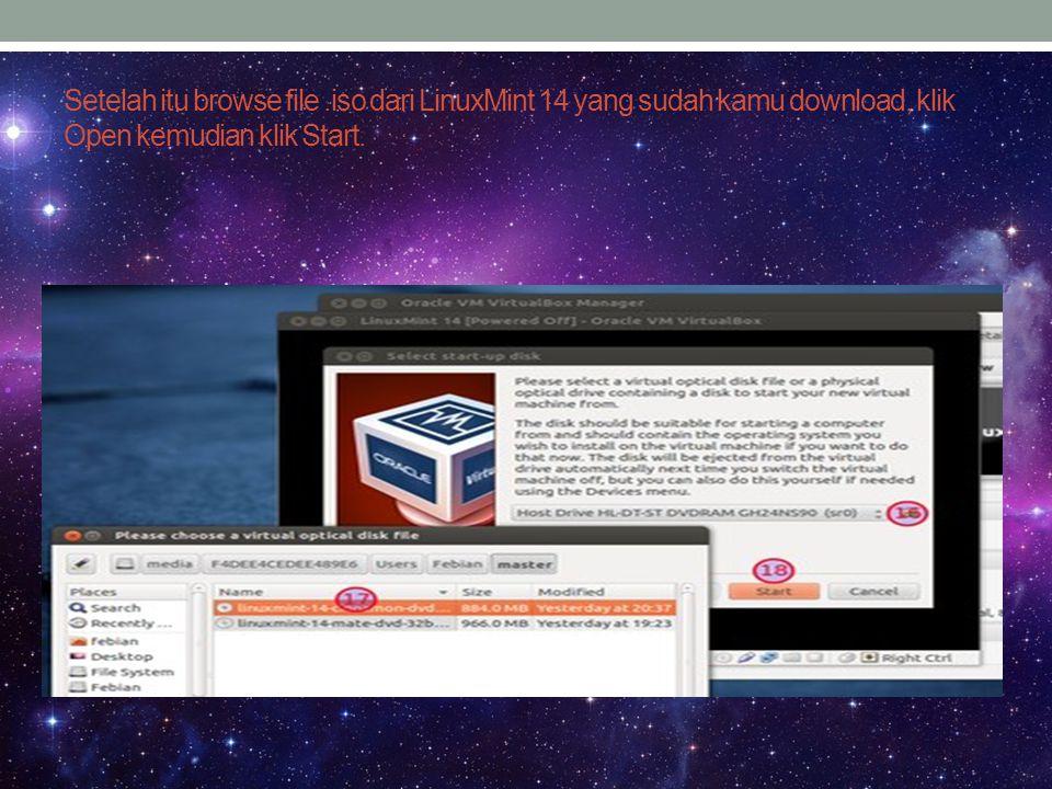 Linux Mint 14 akan langsung booting, klik Install Linux Mint untuk mulai melakukan proses instalasi.