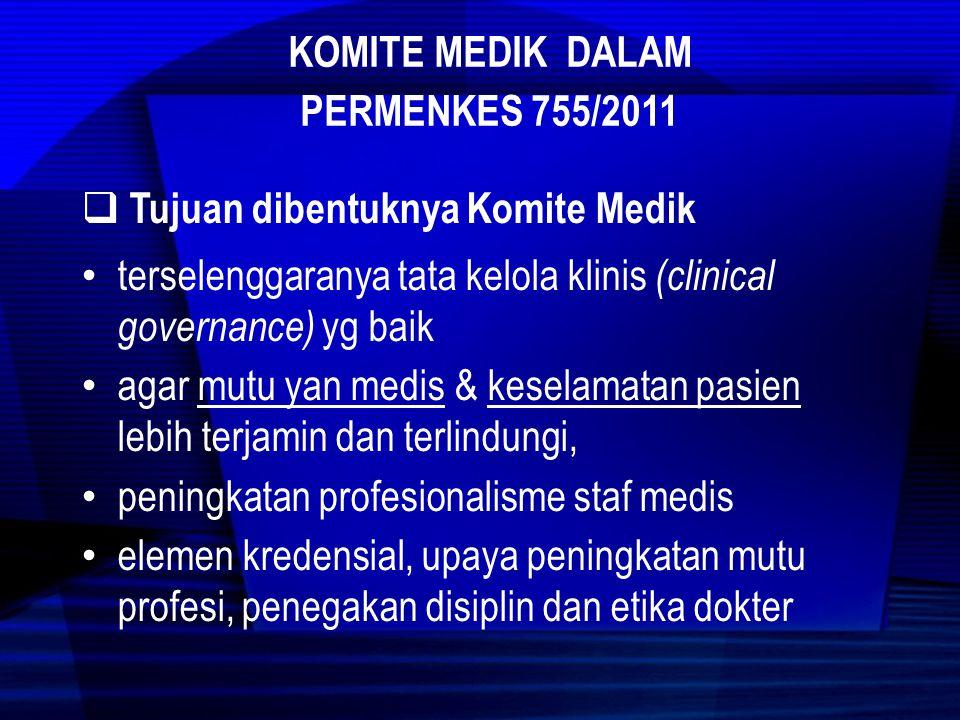 Kepala/Direktur RS Komite medik Sub Komite Kredensial Menapis profesionalisme SM Sub Komite Mutu Profesi Memp[ertahankan kompetensi dan profesionalisme Sub Komite Etika & Disiplin Profesi Menjaga disiplin etika dan perilaku profesi SM  Organisasi Komite Medik
