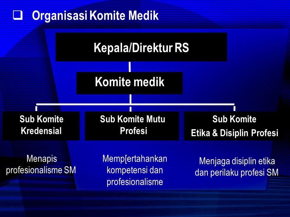  Tugas Komite Medik Meningkatkan profesionalisme staf medis yang bekerja di RS dengan cara: a.