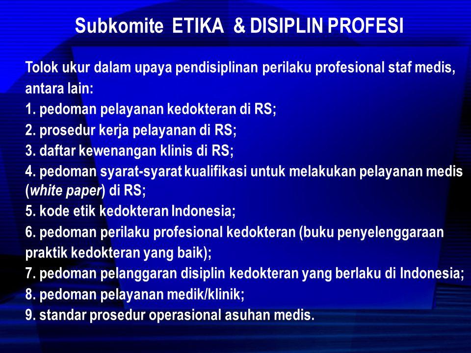 Subkomite ETIKA & DISIPLIN PROFESI 1.Upaya Pendisiplinan Perilaku Profesional a.