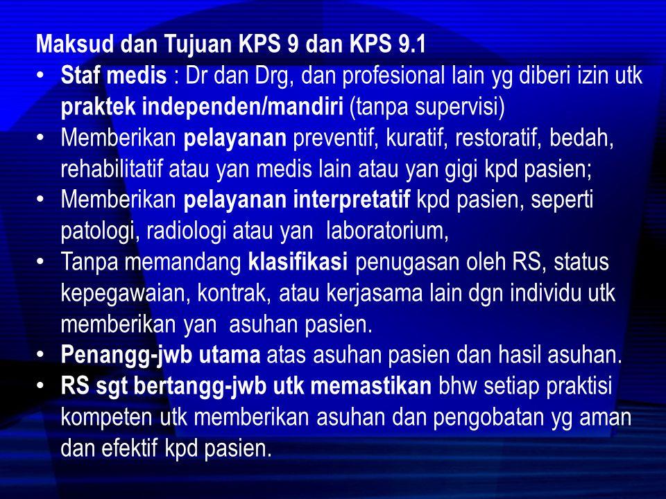 Elemen Penilaian KPS 9 1.Mereka yg memperoleh izin berdasarkan peraturan perUU dan dari RS utk melakukan asuhan pasien tanpa supervisi diidentifikasi.