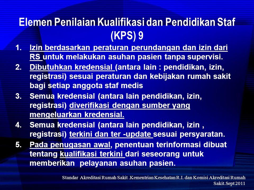 Std 9.1.Pimpinan membuat keputusan yg diinformasikan ttg pembaharuan izin bagi setiap anggota SM dapat melanjutkan memberikan yan asuhan pasien sekurang- kurangnya setiap tiga tahun Elemen Penilaian KPS 9.1.