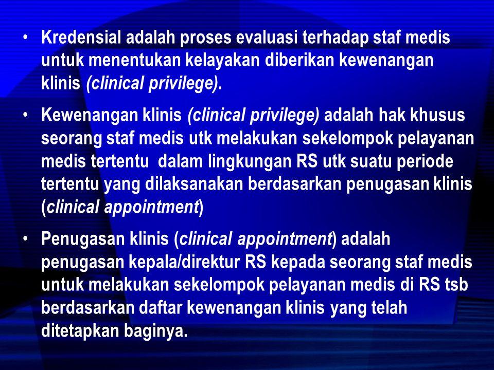  Setiap RS Harus Punya Komite Medis Pasal 33  ttg Organisasi RS (1) Setiap Rumah Sakit harus memiliki organisasi yang efektif, efisien, dan akuntabel (2) Organisasi RS paling sedikit terdiri atas Kepala RS atau Direktur RS, unsur pelayanan medis, unsur keperawatan, unsur penunjang medis, komite medis, satuan pemeriksaan internal, serta administrasi umum dan keuangan.