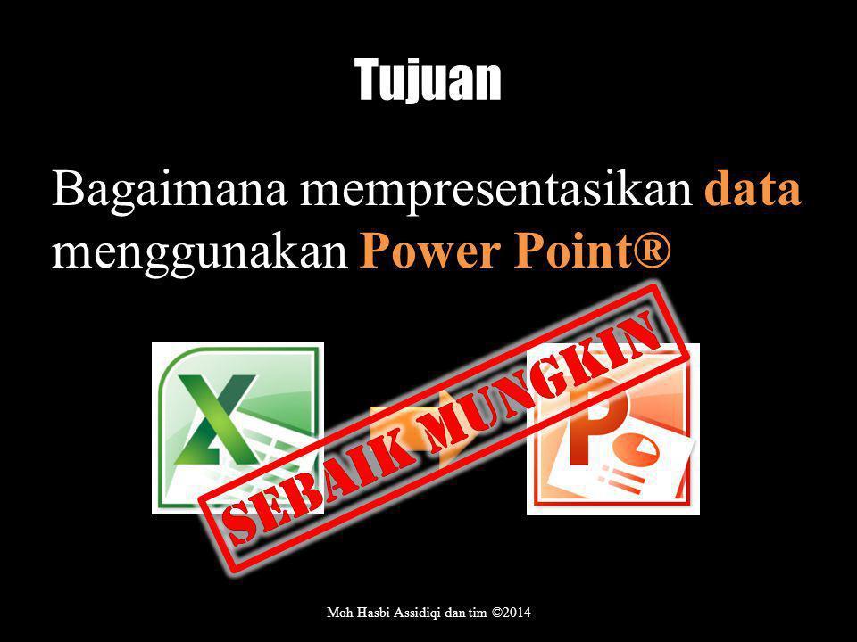 Tujuan Bagaimana mempresentasikan data menggunakan Power Point® Moh Hasbi Assidiqi dan tim ©2014