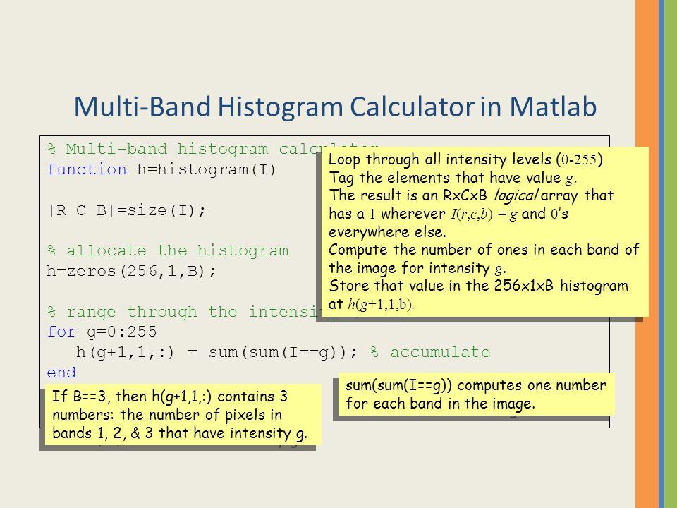 Multi-Band Histogram Calculator in Matlab % Multi-band histogram calculator function h=histogram(I) [R C B]=size(I); % allocate the histogram h=zeros(