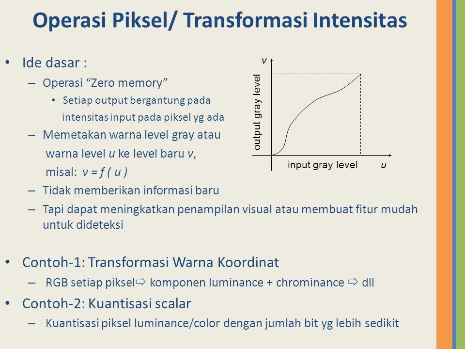 "Operasi Piksel/ Transformasi Intensitas Ide dasar : – Operasi ""Zero memory"" Setiap output bergantung pada intensitas input pada piksel yg ada – Memeta"