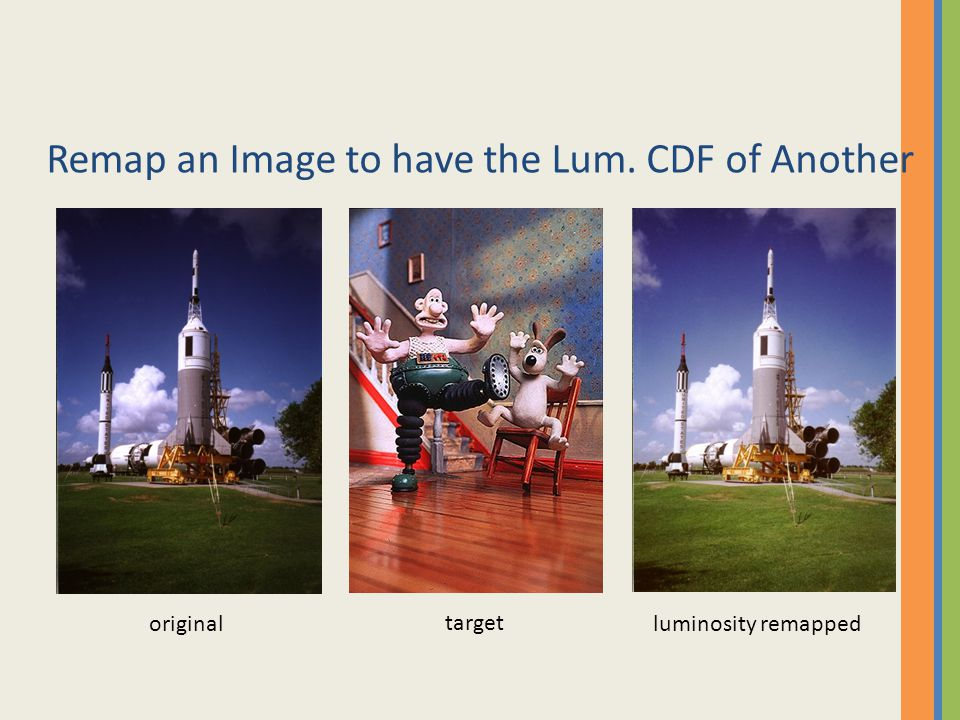 Remap an Image to have the Lum. CDF of Another original target luminosity remapped