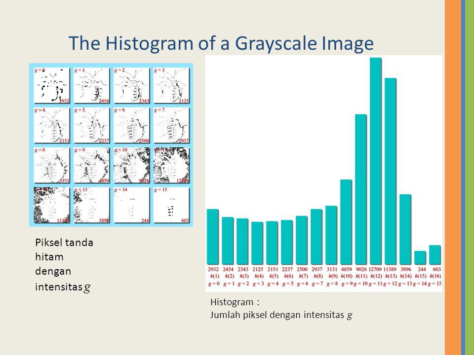 The Histogram of a Grayscale Image Plot of histogram: Jumlah piksel dengan intensitas g Piksel dengan tanda hitam with intensity g