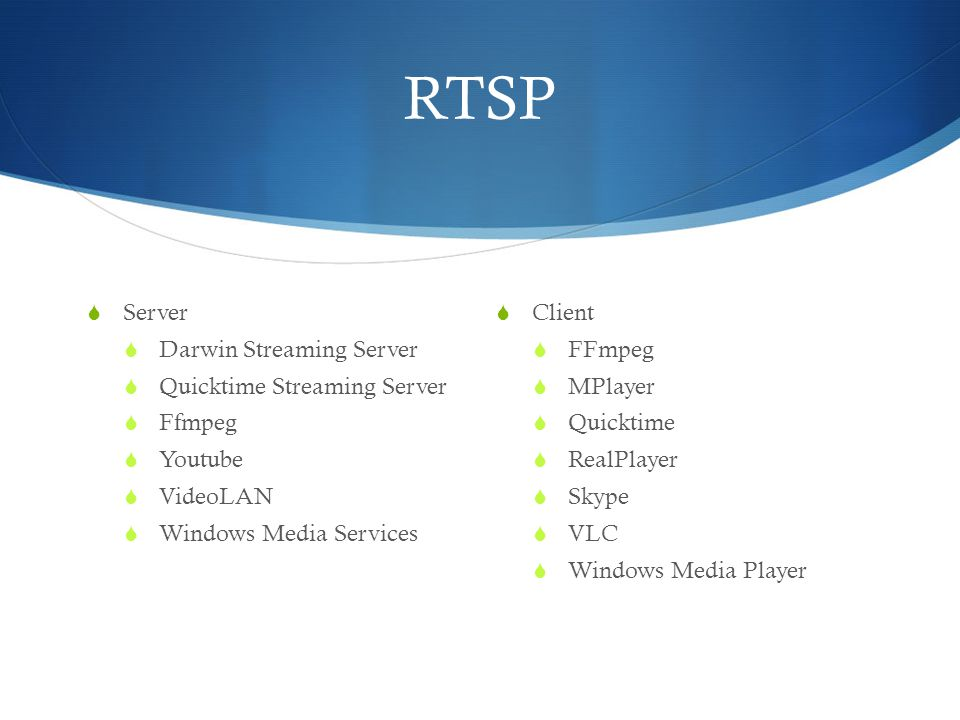 RTSP  Server  Darwin Streaming Server  Quicktime Streaming Server  Ffmpeg  Youtube  VideoLAN  Windows Media Services  Client  FFmpeg  MPlaye