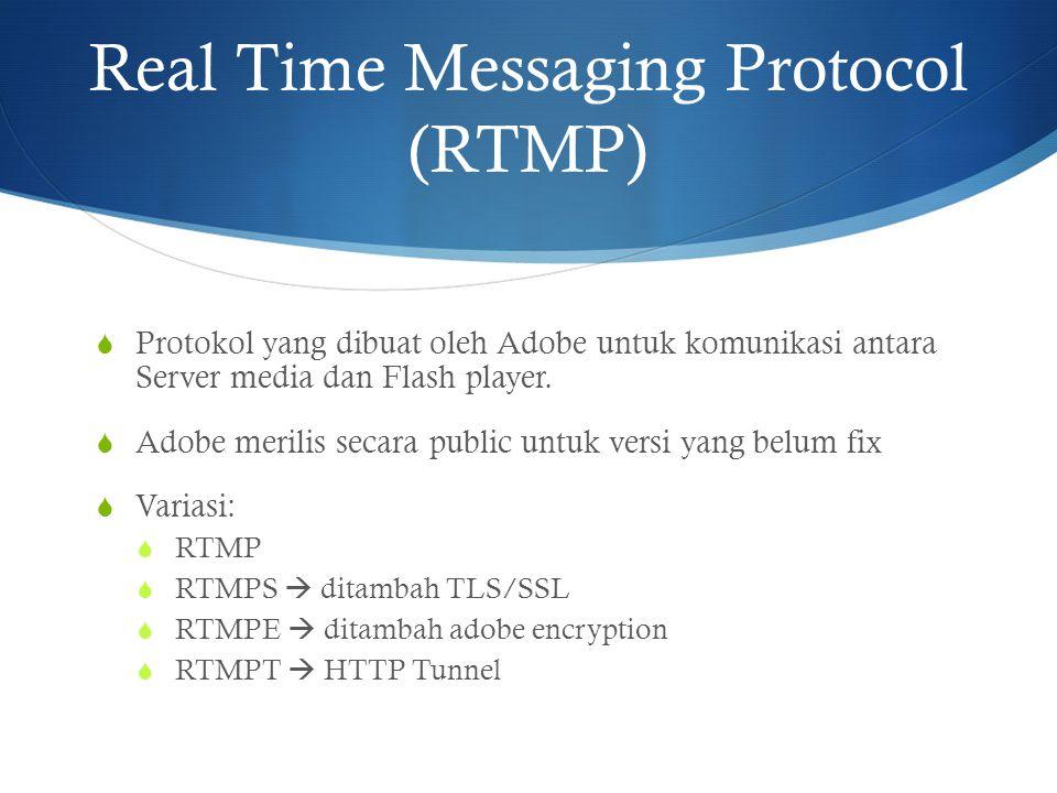 Real Time Messaging Protocol (RTMP)  Protokol yang dibuat oleh Adobe untuk komunikasi antara Server media dan Flash player.  Adobe merilis secara pu