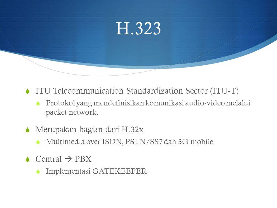  ITU Telecommunication Standardization Sector (ITU-T)  Protokol yang mendefinisikan komunikasi audio-video melalui packet network.  Merupakan bagia